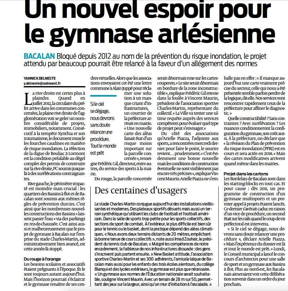Article Sud Ouest &quot&#x3B;Un nouvel espoir pour le gymnase arlésienne&quot&#x3B;