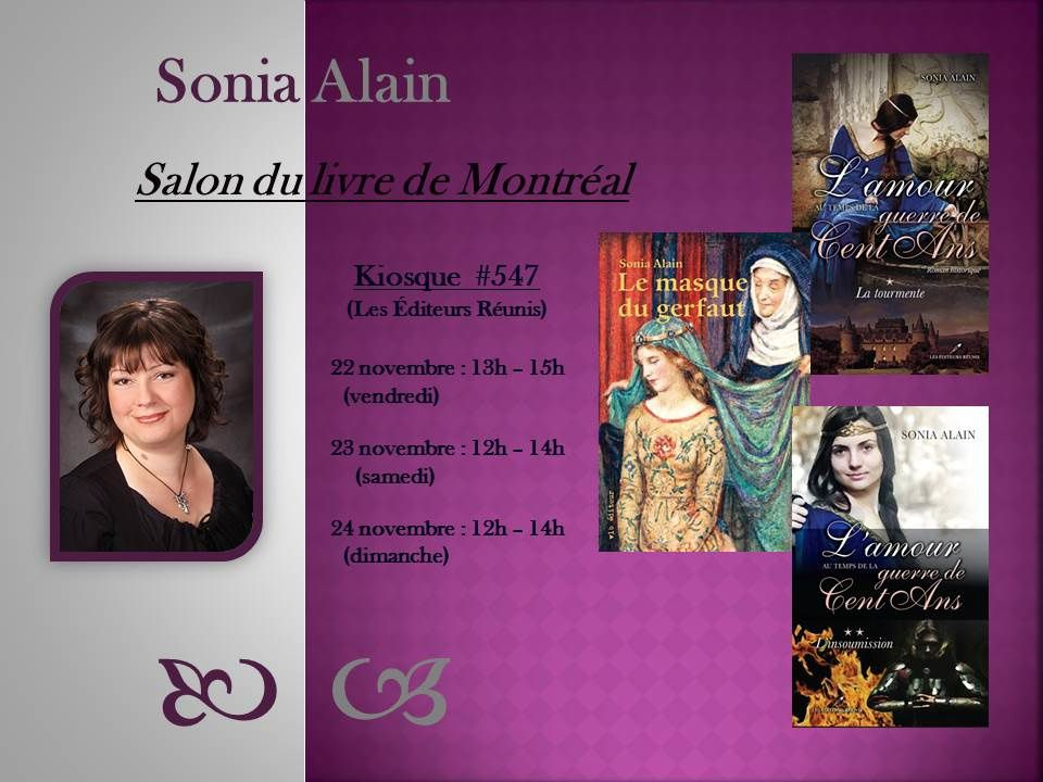 Mon horaire de signatures | http://www.salondulivredemontreal.com/Signaturedetails.asp?nom=Alain&prenom=Sonia&jeune&let&act&D2=17