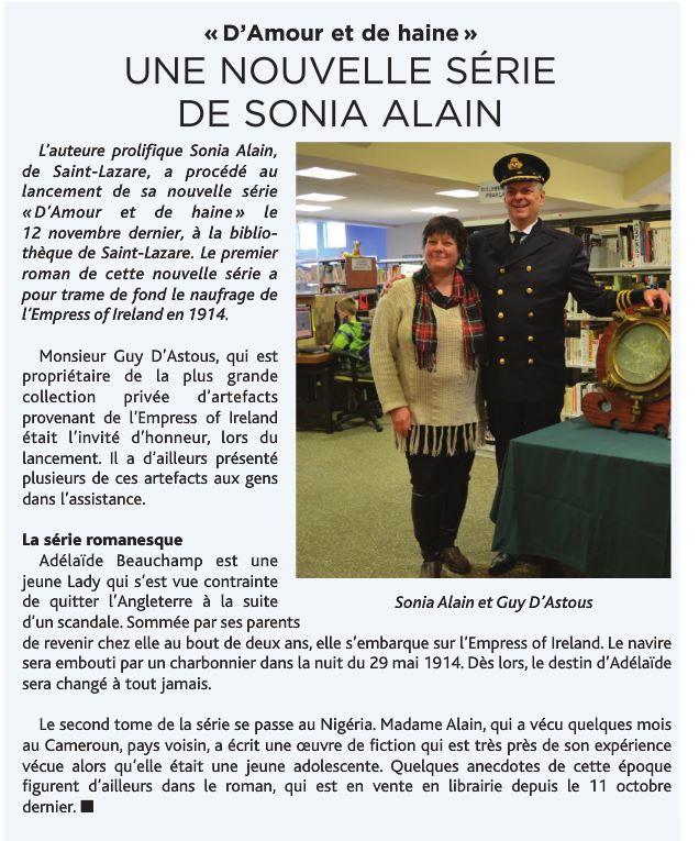 Journal Le Suroît régional | par Mona Rochon | Le 16 novembre 2016 | http://online.flipbuilder.com/dxff/vxit/#p=9