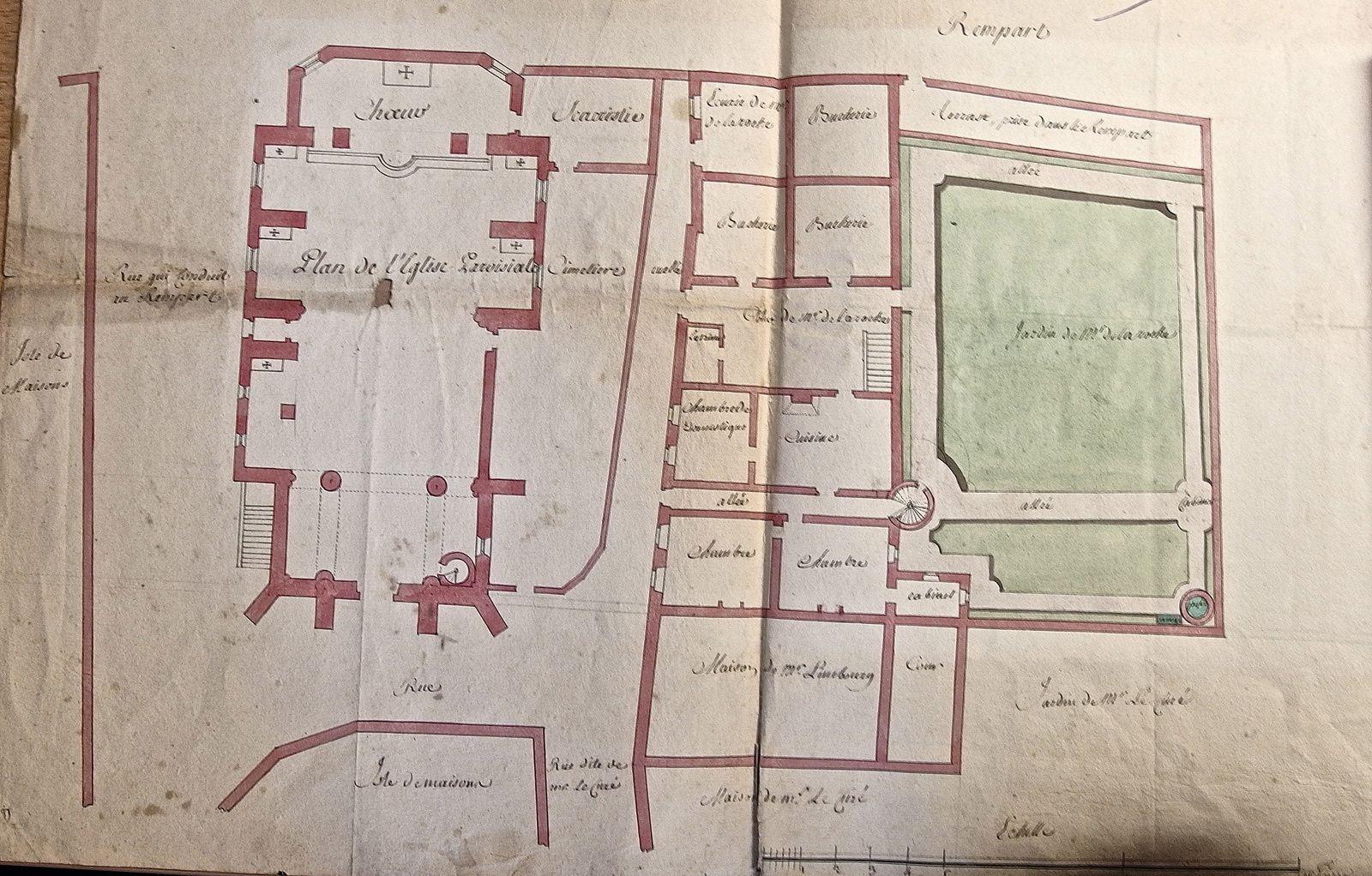 Plan de l'ancienne église de Thionville avec son environnement immédiat daté de 1750, propriété de Charles Abel en 1884, actuellement dans la collection de Dominique Laglasse,  archiviste, de Thionville