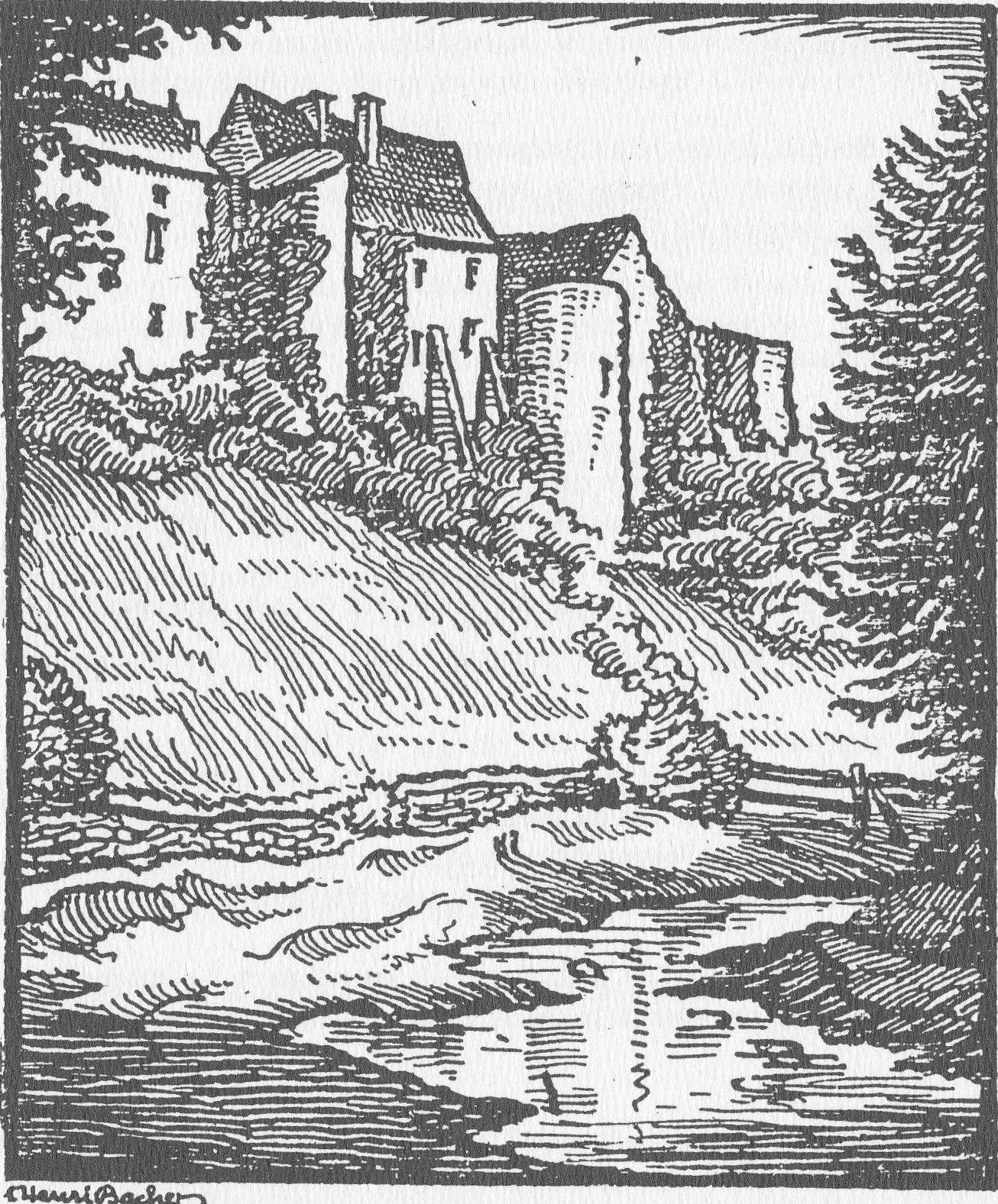 Château de Roussy - Dessin de Henri Bacher – Strasbourg - 1933