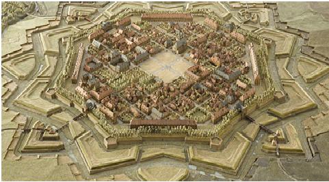 """Les """"rauelin"""" sont les petites structures triangulaires en bas à gauche et à droite reliées à la ville par des ponts de boiset le """"bolvard"""" est la partie bordée d'arbres au-dessus du rempart tout autour de la ville"""