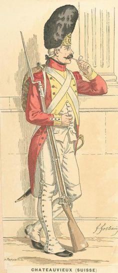 Grenadier suisse avec son bonnet d'ourson à plaque et sa pipe en porcelaine
