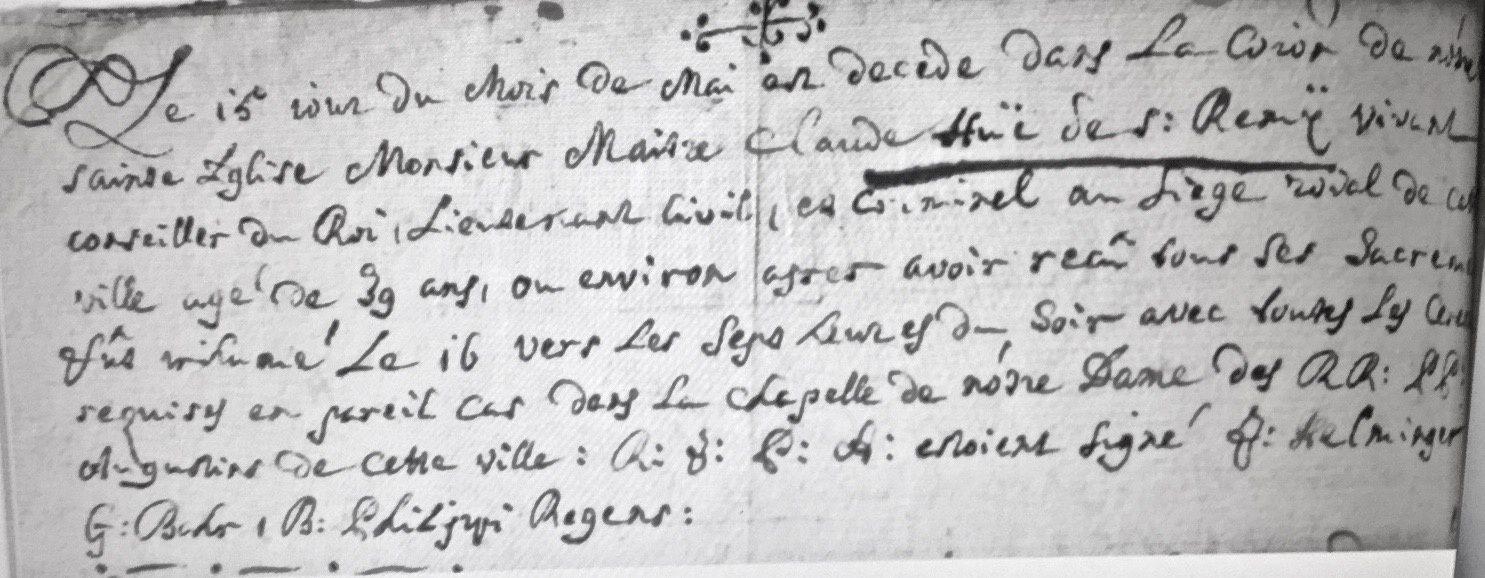 Acte de décès de François Claude Hue de Saint-Rémy
