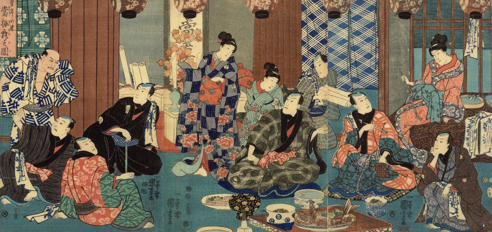 vends triptyque d'Estampes Japonaises Originales XIXème Kuniyoshi &quot&#x3B;Geishas Samouraïs&quot&#x3B;