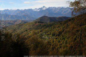 Jacques - Auragnou vus de la route du col de la Crouzette (1000m)