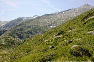 Etang d'Alet - Pic de Montabone vus de la Lacarde (2003m)