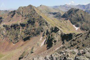 Pic de Tristagne vu du pic de l'Etang Fourcat (2859m)