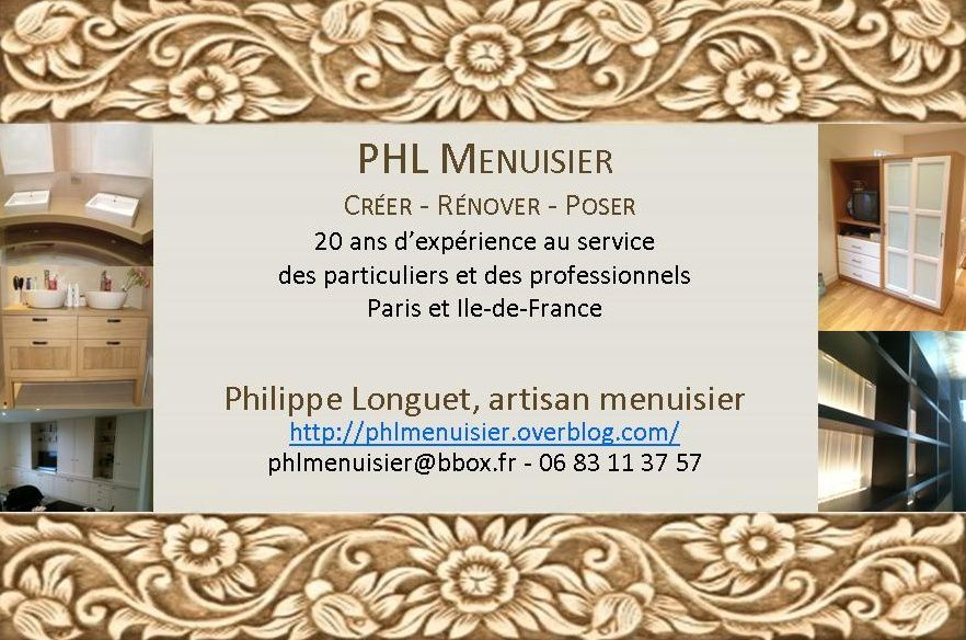 phl menuisier un artisan pour tous vos projets de. Black Bedroom Furniture Sets. Home Design Ideas