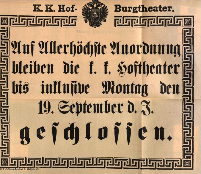 Affiche de deuil du Burgtheater, annonçant une semaine de deuil suite à l'assassinat de l'impératrice