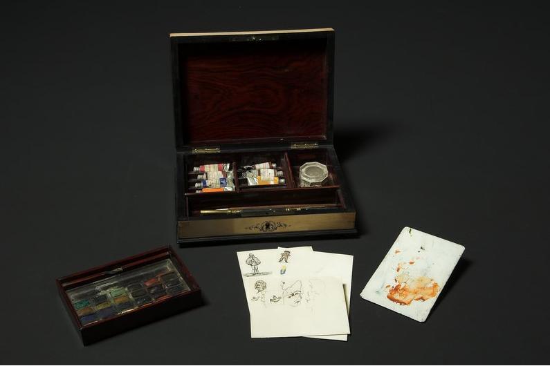 Boîte à auqarelle de l'impératrice, et dessins exécutés de sa main