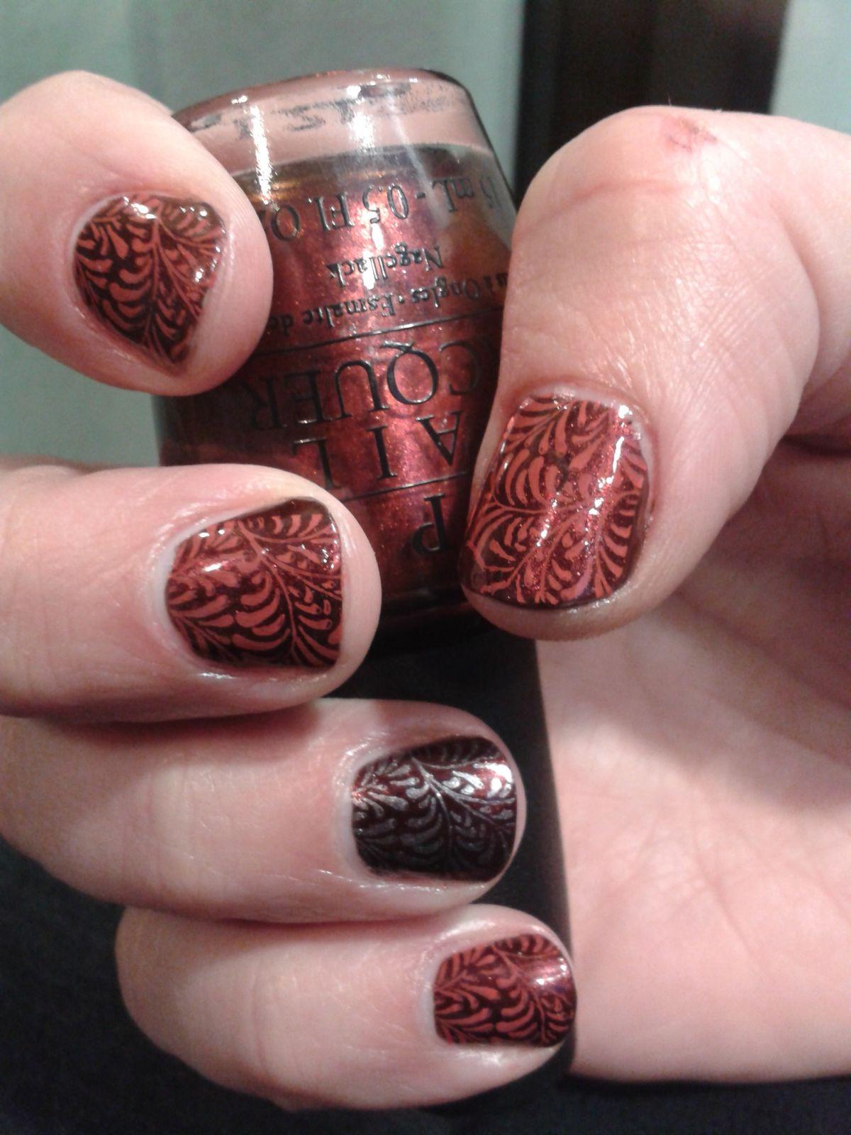 Nail Art Stamping &quot&#x3B;feuillage&quot&#x3B;