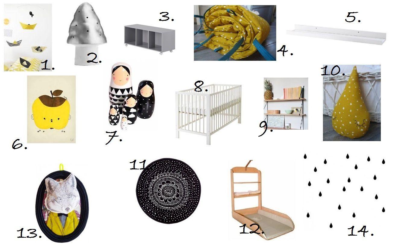 Idée Déco: une chambre bébé en noir, blanc et jaune - Les ...