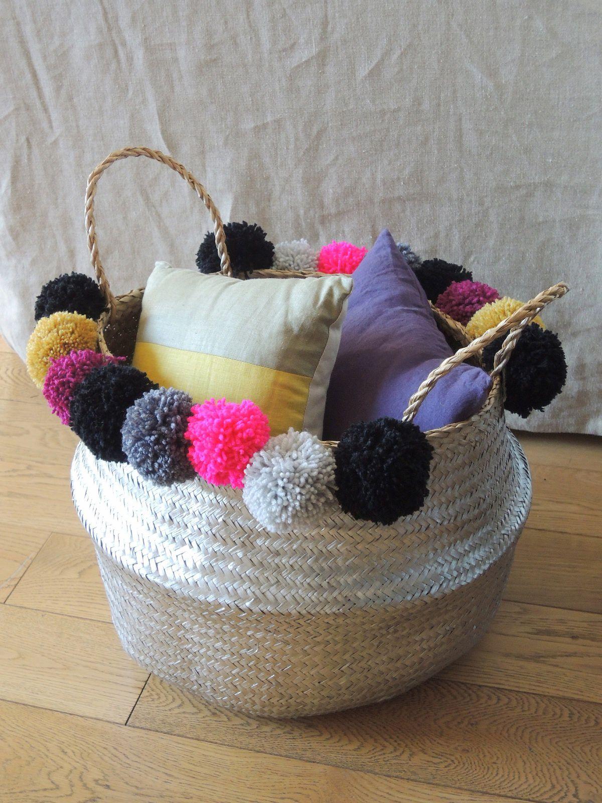 diy customiser un panier thailandais avec des pompons. Black Bedroom Furniture Sets. Home Design Ideas