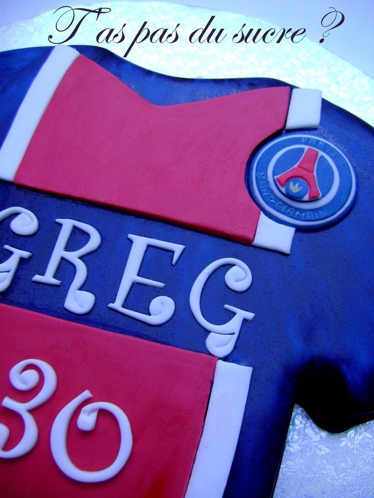Gâteau maillot du PSG et ballon