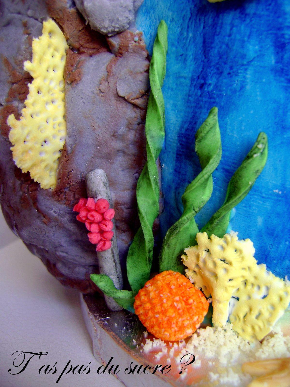 Gâteau orque (épaulard) et fond marin