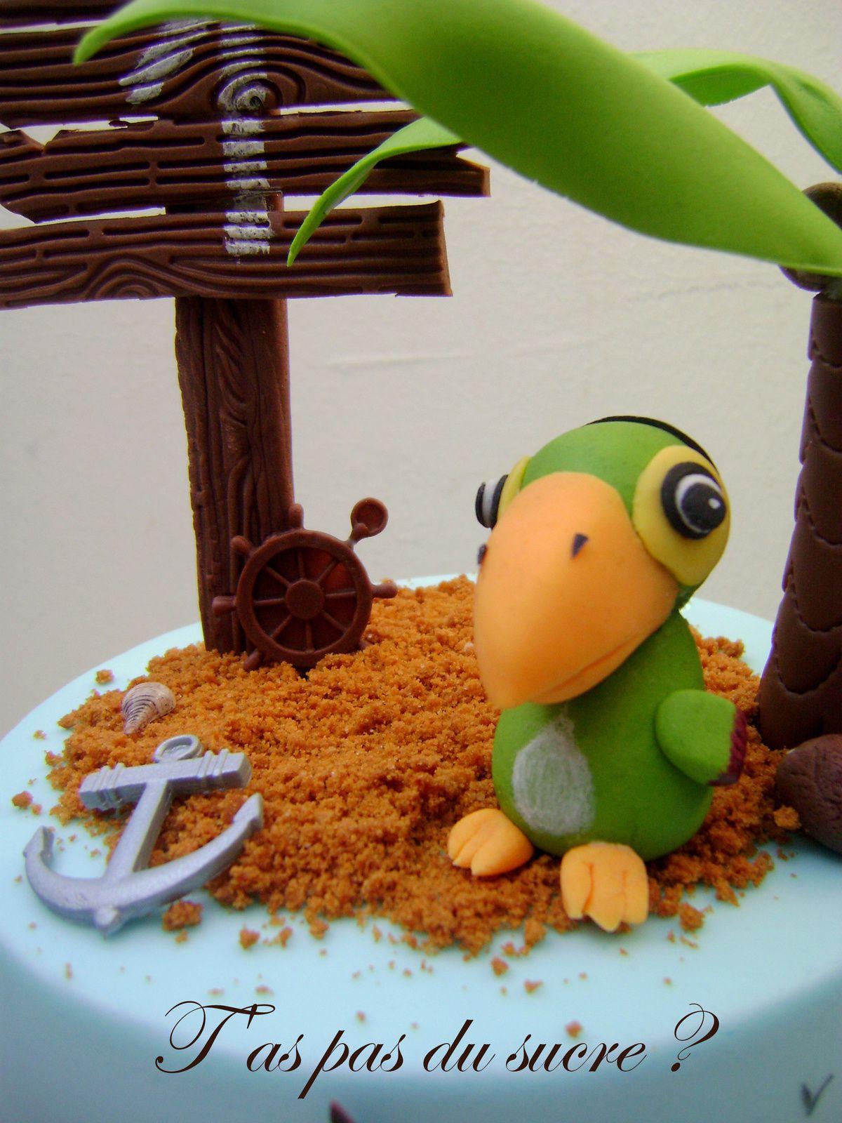 Gâteau pirate et son perroquet