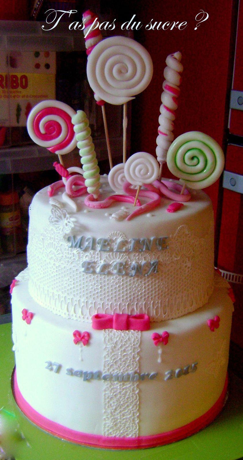Gâteau bonbons fushia et blanc