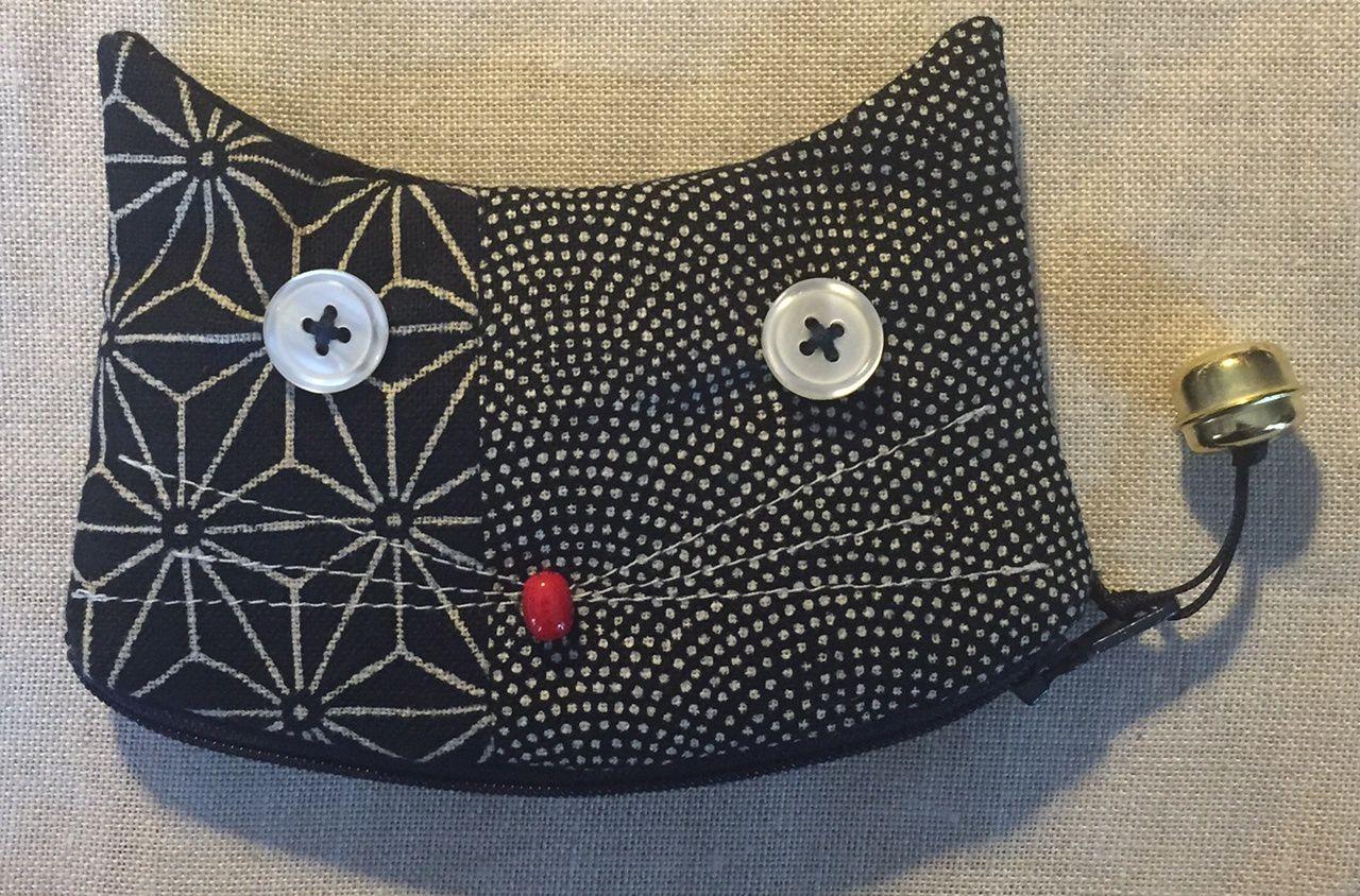 Pochette chat en patchwork de tissus japonais