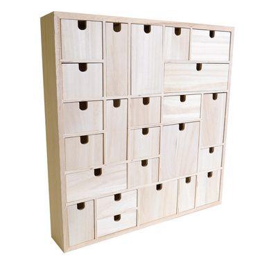 Avent Mondrian, calendrier avec des casiers bois