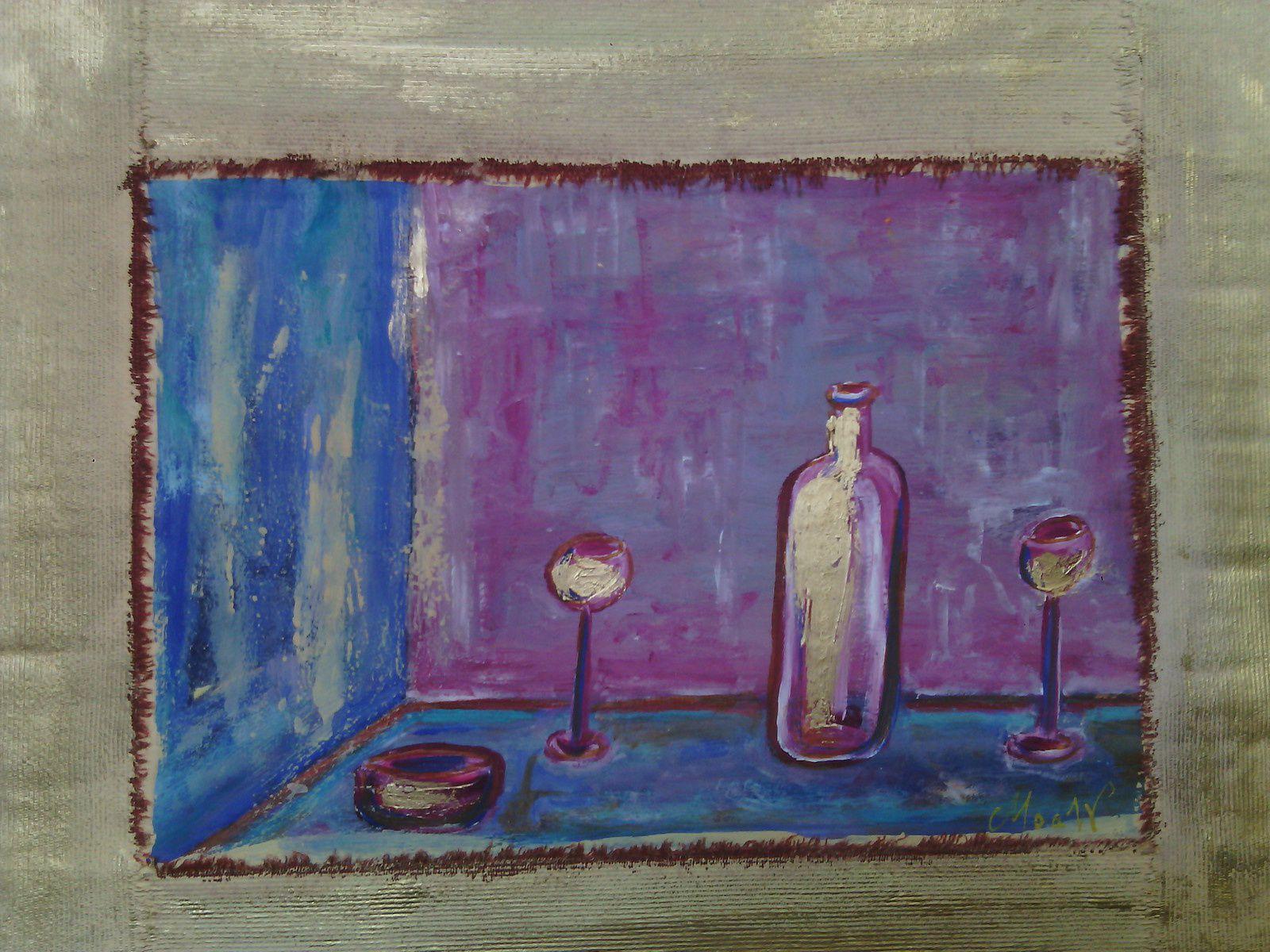 Bouteille et verres - Peinture à l'huile sur papier - MoaW