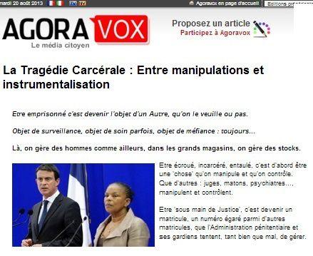lien vers : http://www.agoravox.fr/tribune-libre/article/la-tragedie-carcerale-entre-139818