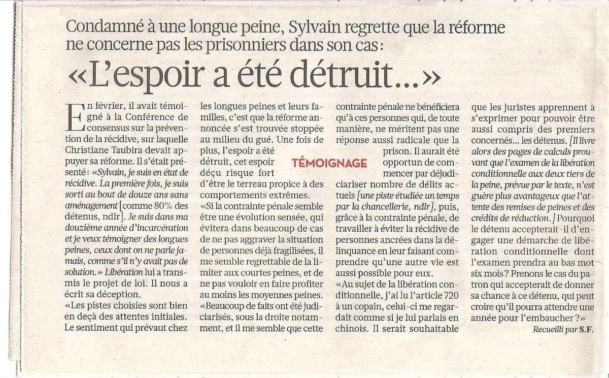 """Libération du 09/10/13 - cliquez sur l'image pour lire l'article : Sylvain : """"L'espoir a été détruit"""""""