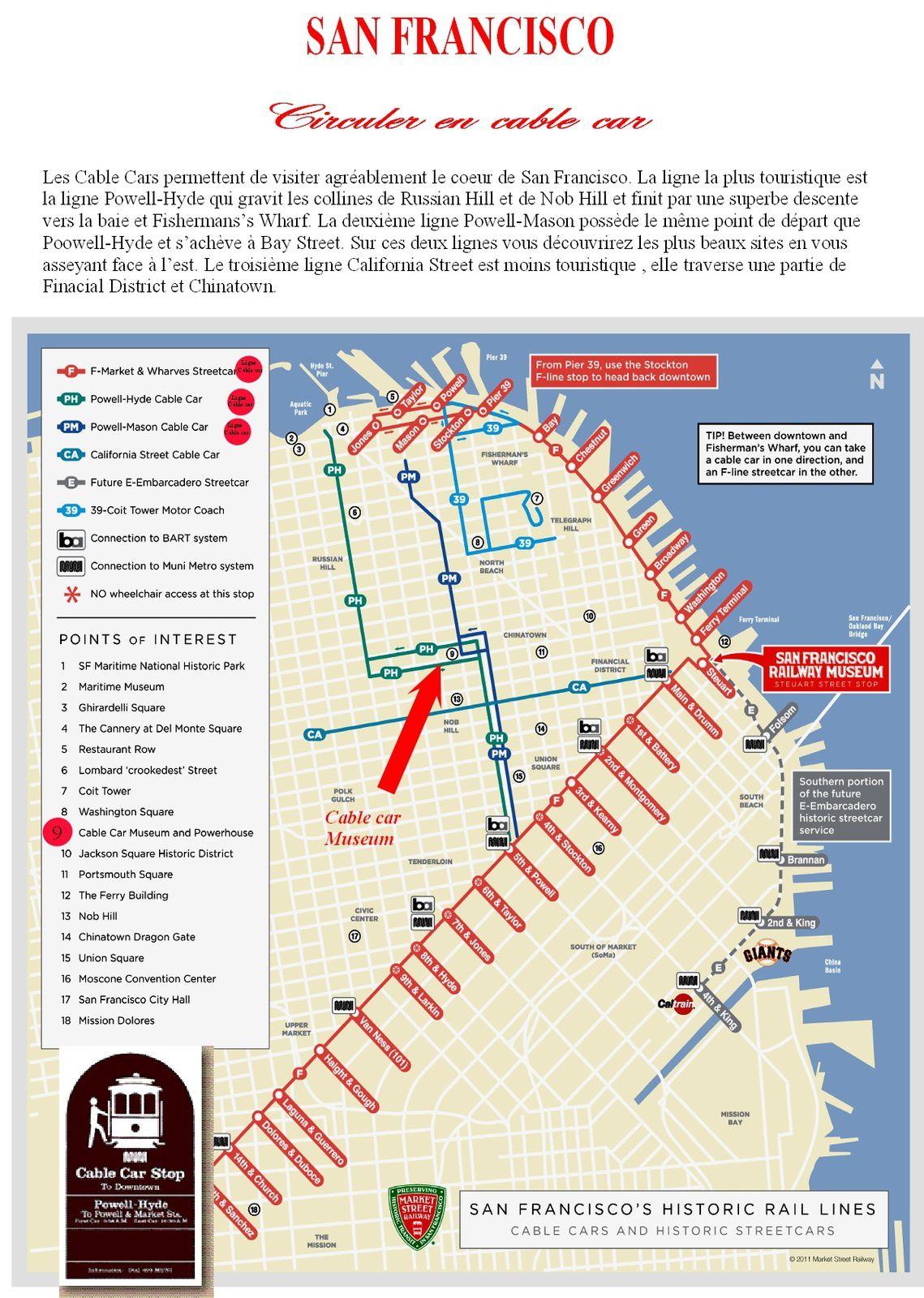 Plan du réseau de cable car