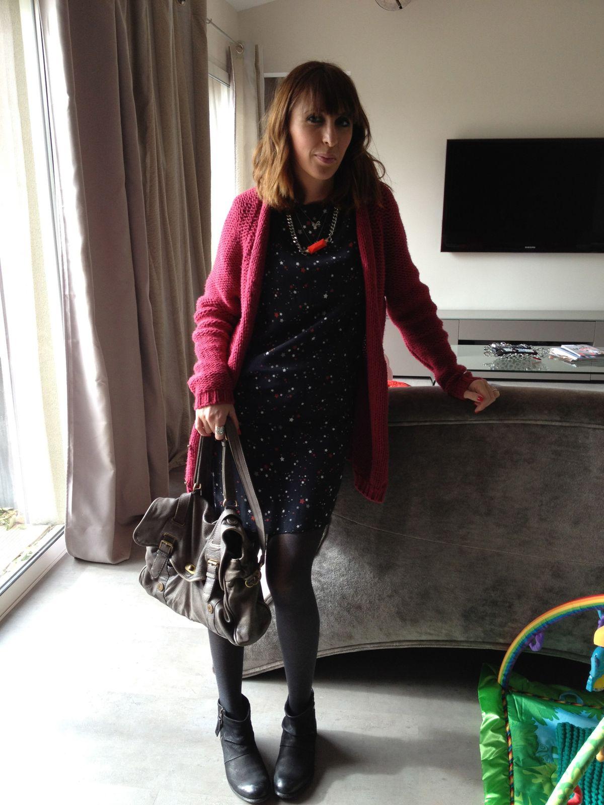 robe kookai   veste american vintage   sac comptoir des cotonniers    boots mango   collier ginette et h&m