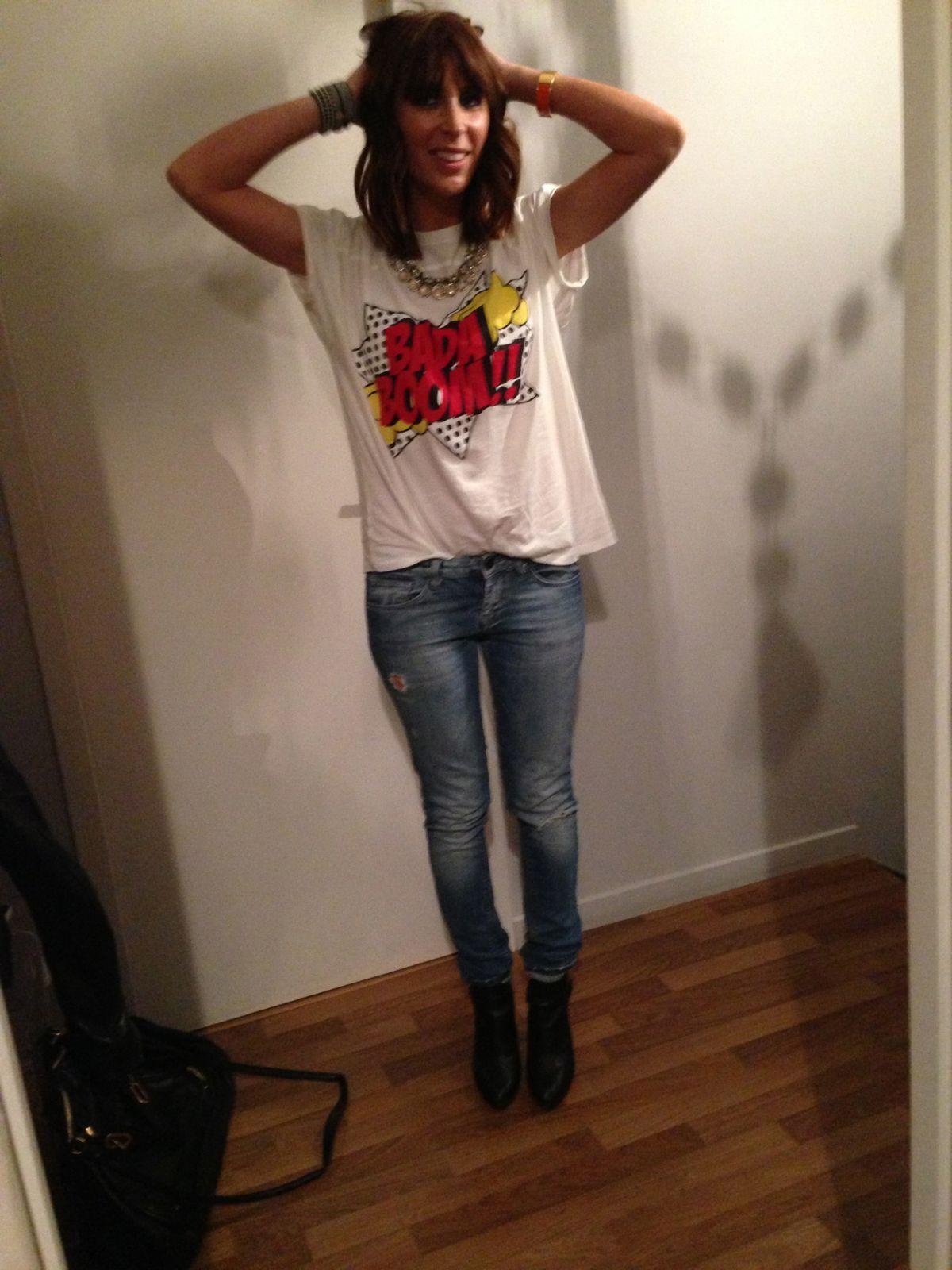 T shirt zara, jean acne, bottines repetto, perfecto balenciaga, sac chloe