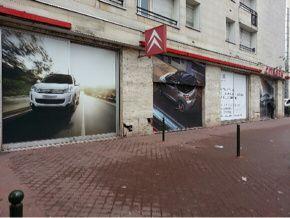 habillage total de la vitrine d'un Citroën banlieue parisienne