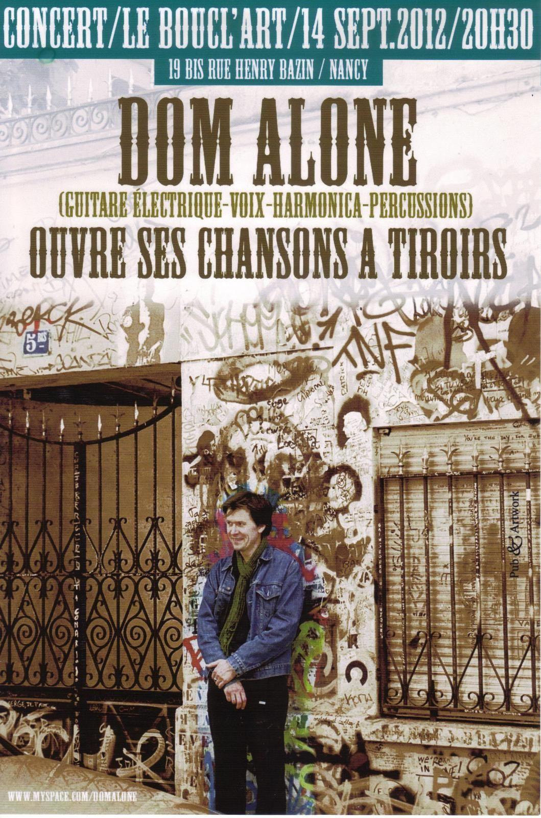 CONCERT - DOM ALONE - Vendredi 14 septembre 2012 à partir de 20h30