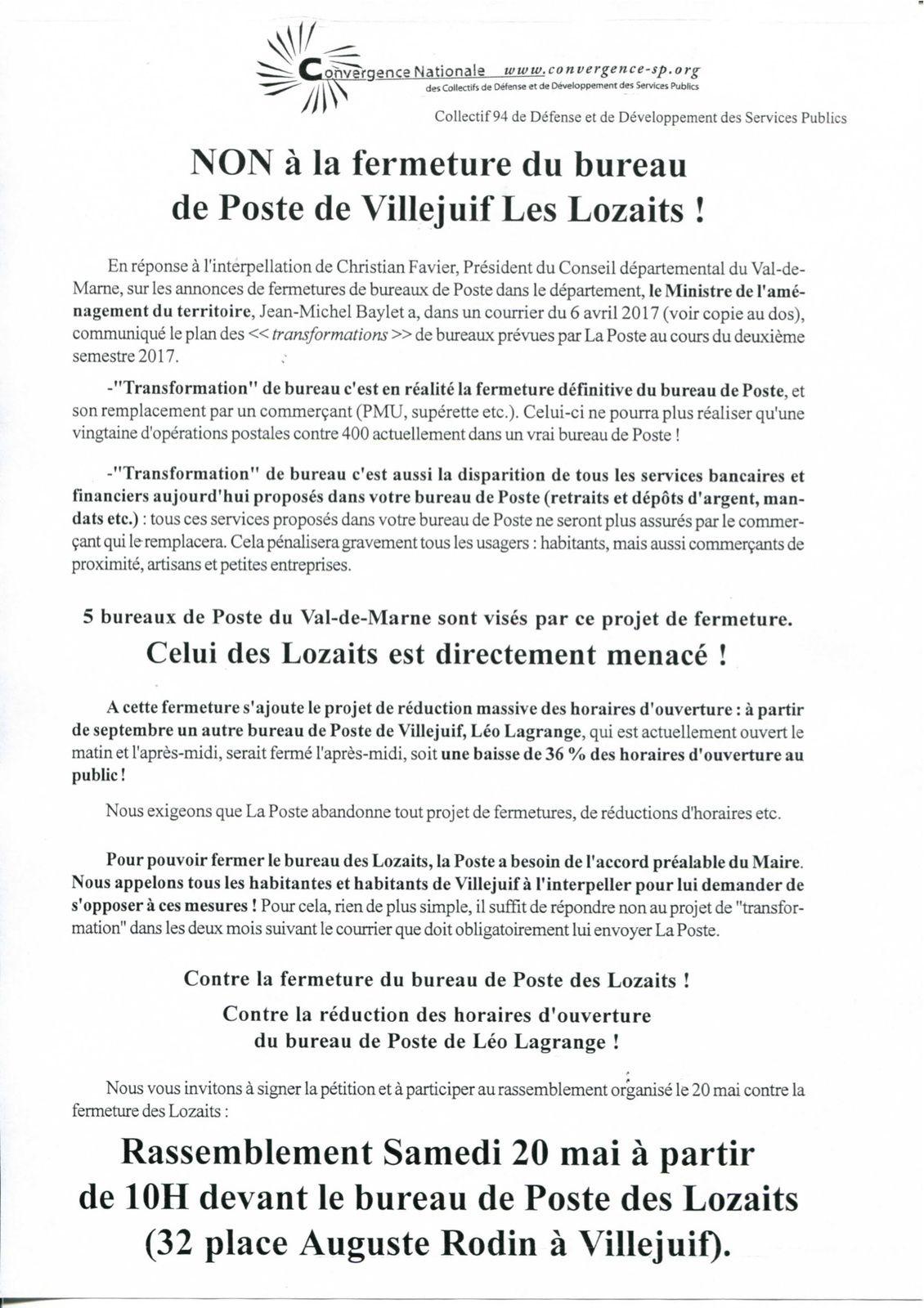 Poste Villejuif : Non à la fermeture de la Poste des Lozaits. Rassemblement 20 mai 10H