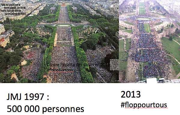 Seulement entre 340 000 et 400 000 personnes dans les rues contre le mariage pour tous.