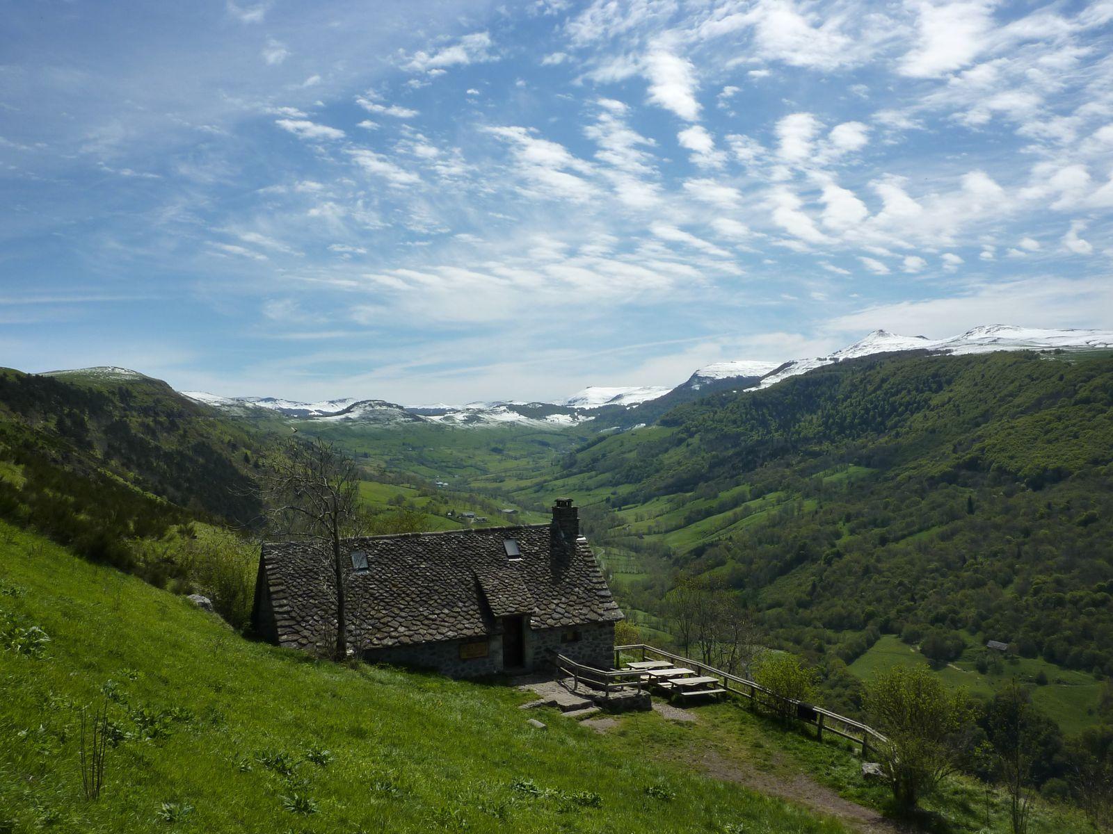 Le buron et les monts du Cantal
