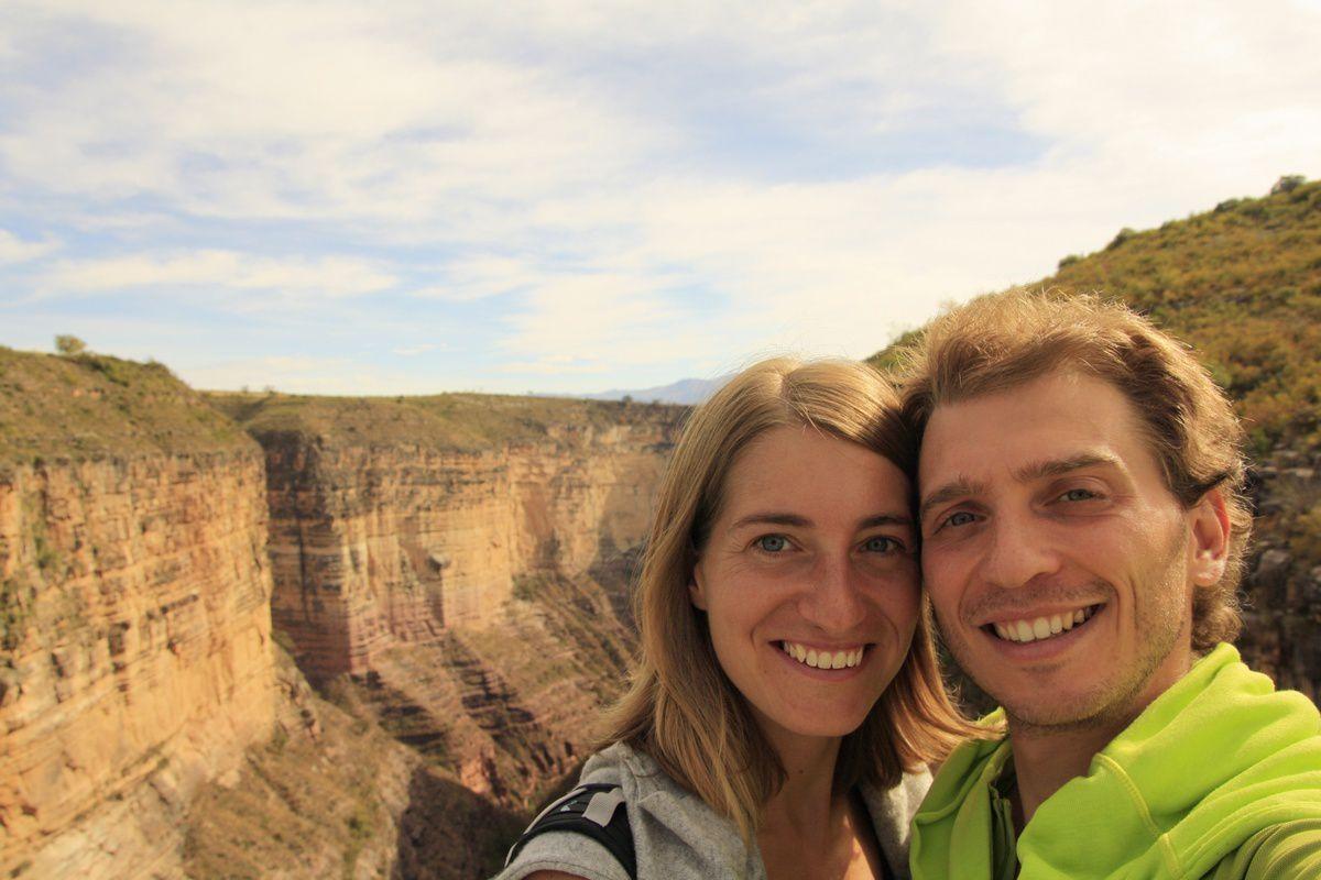 Le canyon complètement asséché et des bogoces devant :)