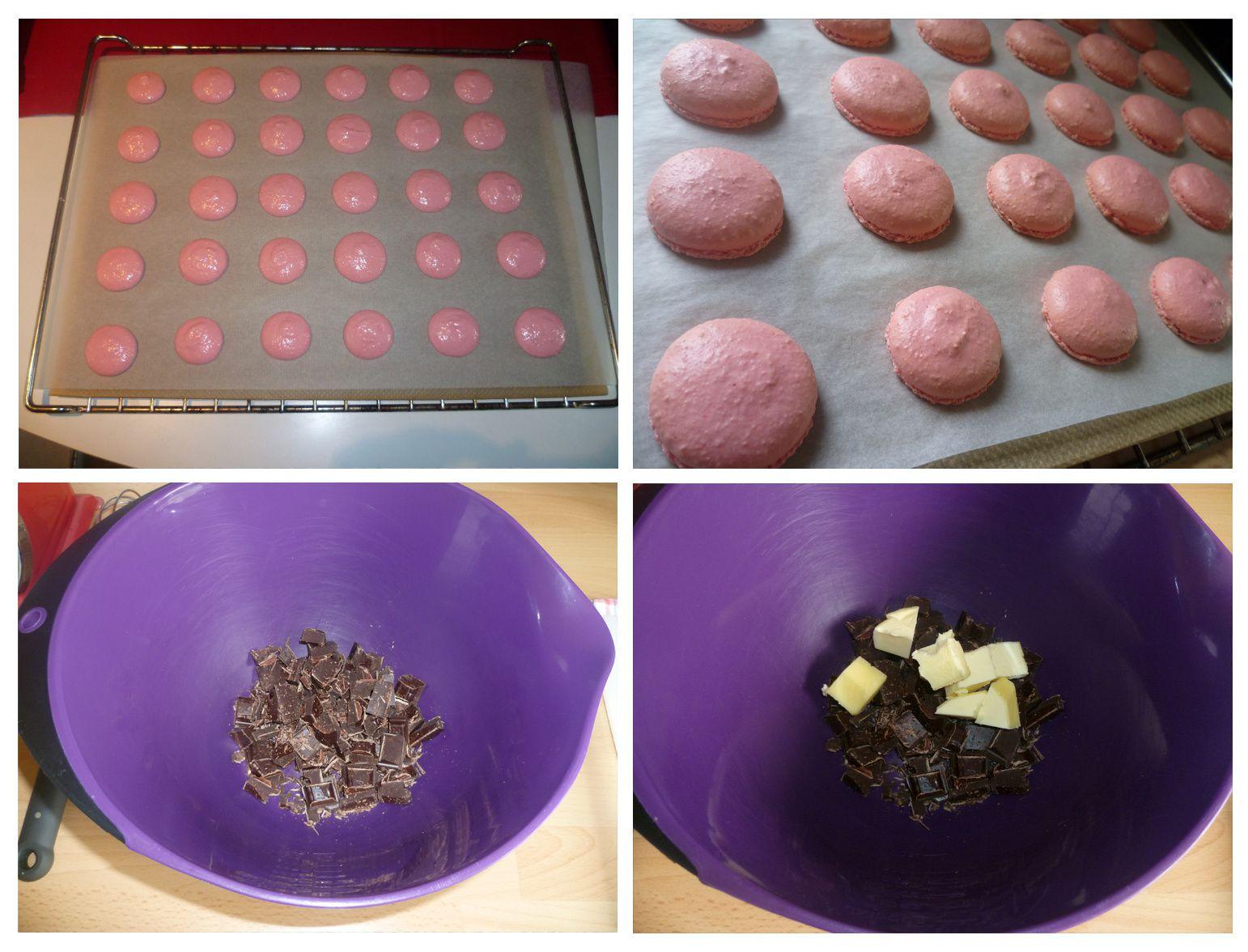 Macarons au chocolat noir et cœur de framboise
