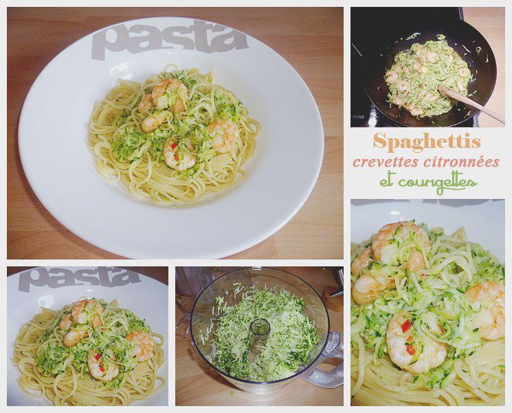Spaghettis aux crevettes citronnées et aux courgettes