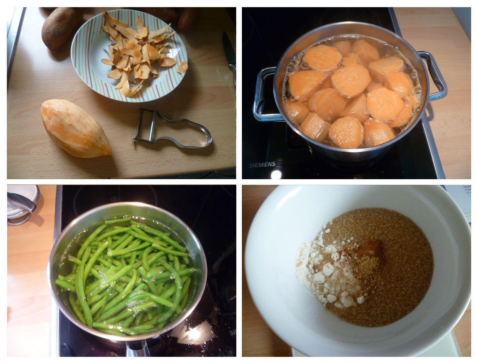 Poulet pané façon cajun, haricots verts et crumble de patates douces