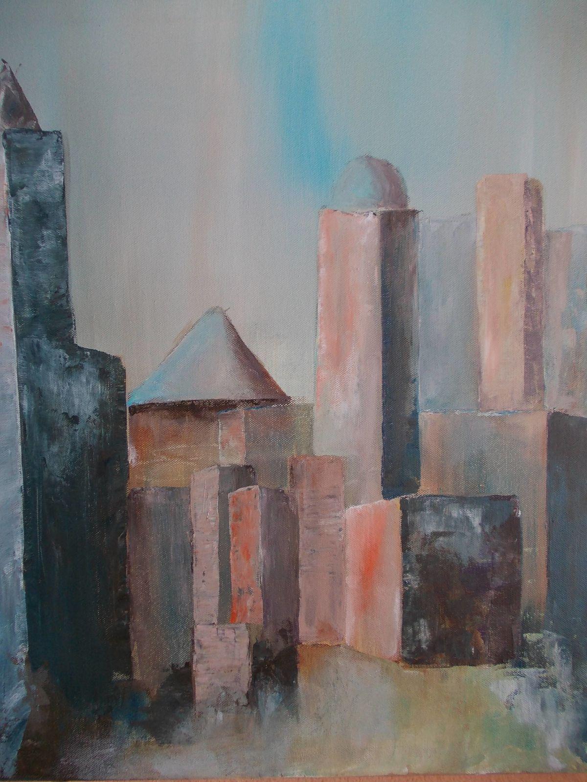 Paysage urbain, acrylique et glossy sur toile, Georges Milon