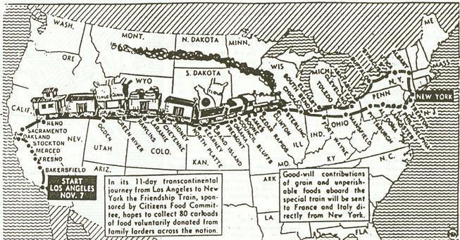 Parcours du train américain - Ames daily tribune, le 4 novembre 1947