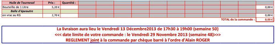 Contrat farine - commande 29 novembre - livraison: 13 décembre 2013