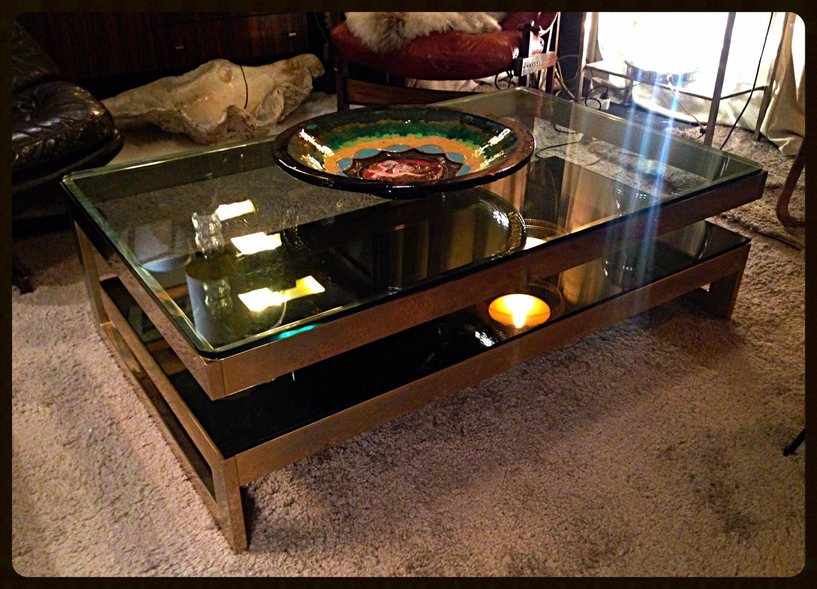 "Table basse moderniste cantilevered ""G"" or 23 ct carat K gold plateaux en verre bronze et fumé mobilier vintage et design meuble ancien antiquite antiquaire Marcq en Baroeul Lille Nord Bondues"