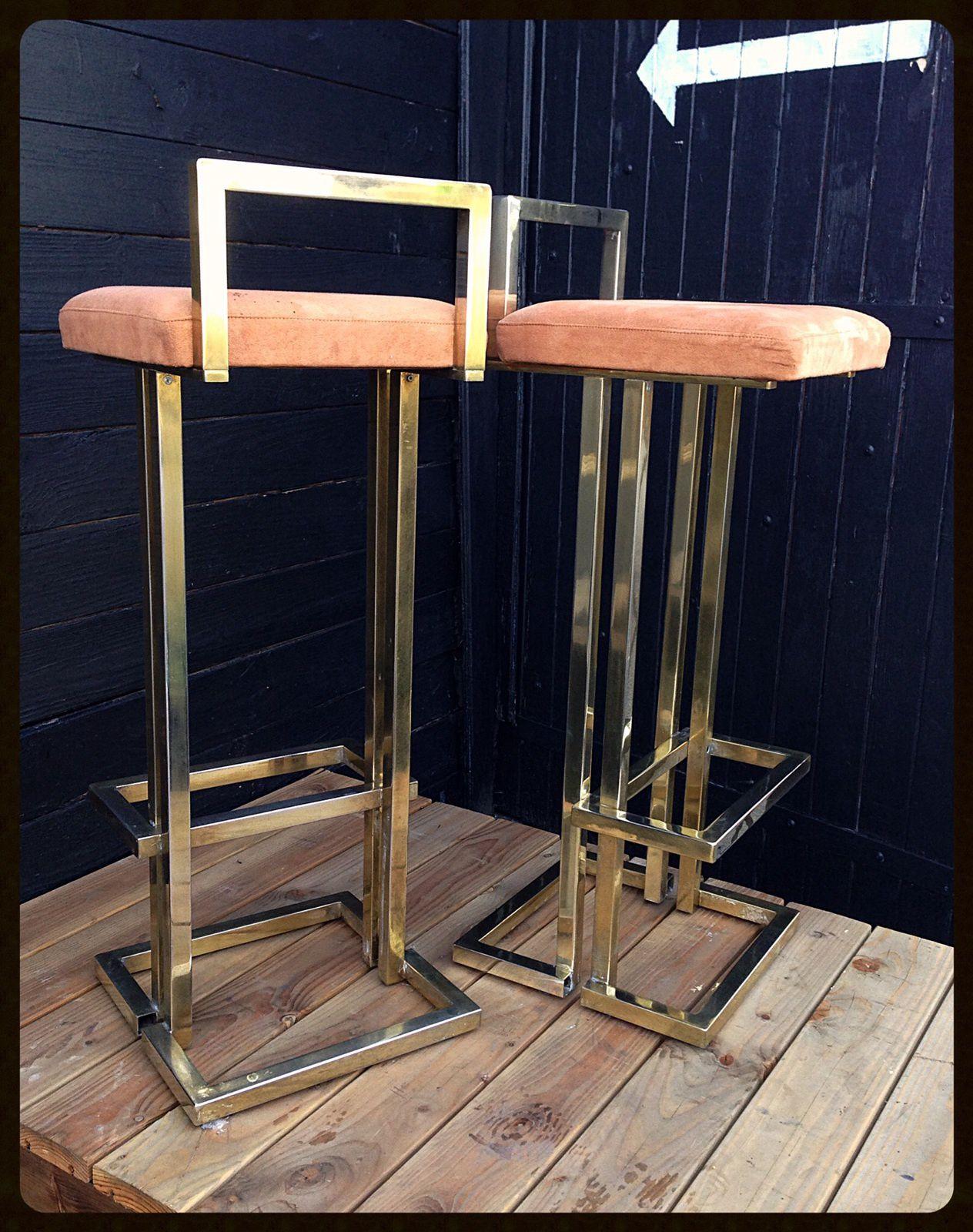 Paire de tabourets maison Roméo dorée à l'or fin 23K Roméo Rega design vintage 20ème antiquité antiquaire Bondues Lille nord france french furniture