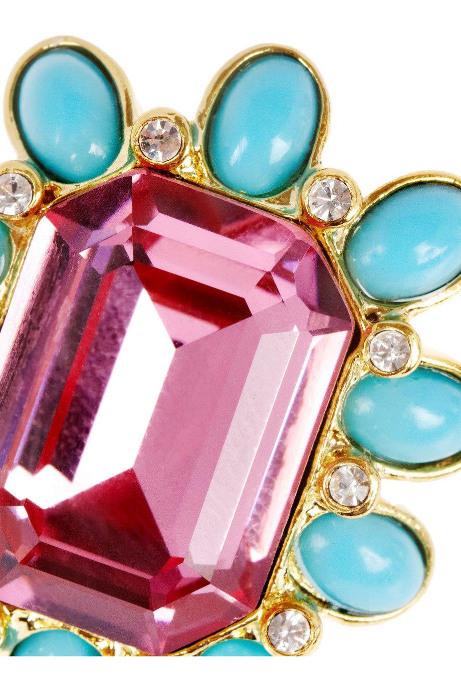 Ornées d'un cristal rose scintillant oversize et de pierres en résine turquoise,taille XXL pour ces clips d oreilles , j aime le mélange rose qui s harmonise parfaitement avec la résine turquoise