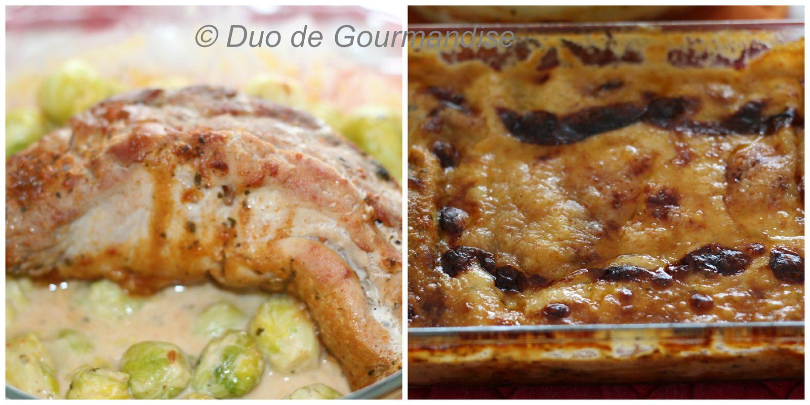 Filet mignon aux choux de bruxelle et gratin de ravioles