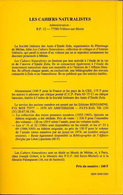"""""""Cahiers génétiques II - Le """"Journal"""" de Rosny"""", dossier composé par Jean-Michel Pottier in Les Cahiers naturalistes n°70 (1996)"""