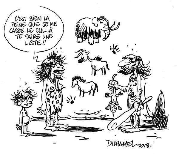 Dessin préhistorico-humoristique publié par Bruno Duhamel
