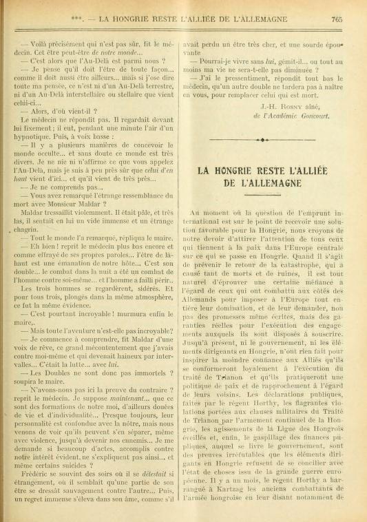 """J.-H. Rosny aîné """"La Haine surnaturelle"""" in La Revue Bleue (1923)"""