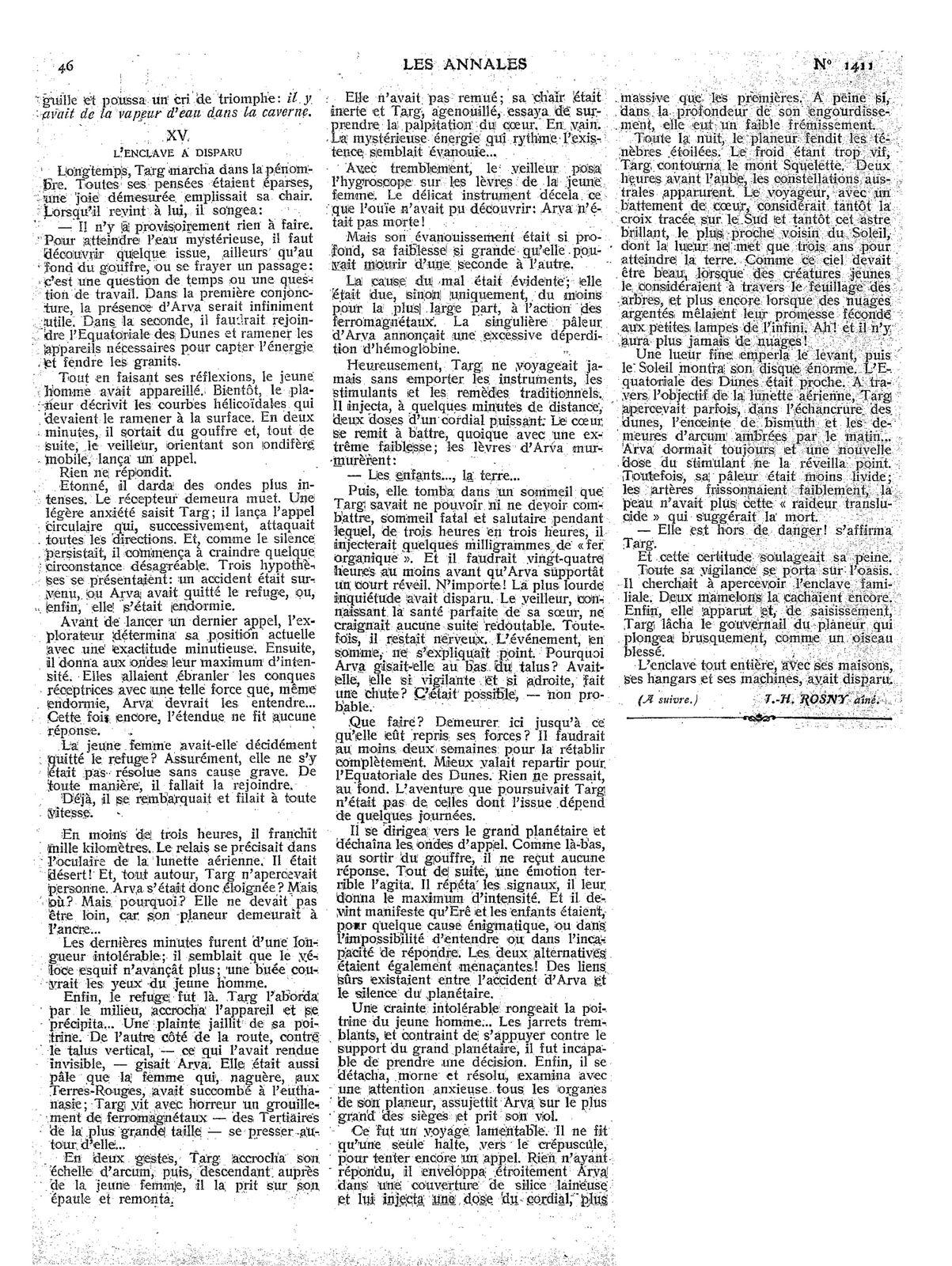 """J.-H. Rosny aîné """"La Mort de la Terre"""" in Les Annales politiques et littéraires n°1411 du 10 juillet 1910"""